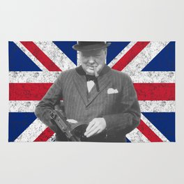 Winston Churchill Posing With A Tommy Gun Rug