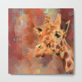 Long Necked Friend Giraffe Art Metal Print