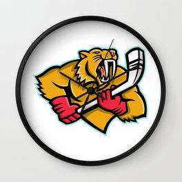Saber Toothed Cat Ice Hockey Mascot Wall Clock
