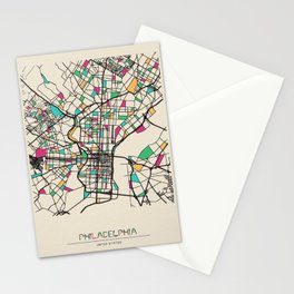 Colorful City Maps: Philadelphia, Pennsylvania Stationery Cards