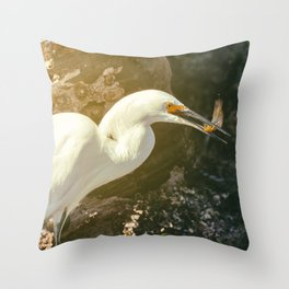 Egret With Prey Throw Pillow
