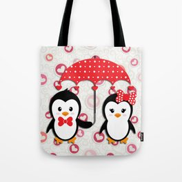 Penguins under the umbrella Tote Bag