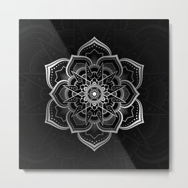 Mandala pattern in the style of Thai applied art in silver color. Metal Print
