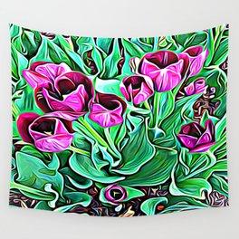 Nurturing Flowers in Pink Wall Tapestry