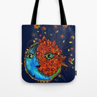 sun and moon Tote Bags featuring Sun-Moon by Aubree Eisenwinter