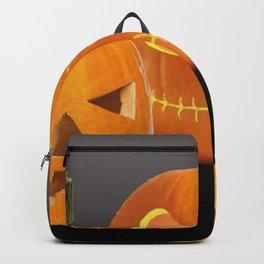 Orange Halloween Pumpkin faces Backpack