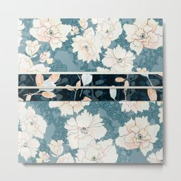 "Blue Peony Floral Print with ""Obi"" Trim Metal Print"