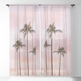 Palm Tree Photography | Landscape | Sunset Unicorn Clouds | Blush Millennial Pink Sheer Curtain