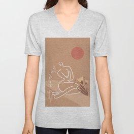 Woman in Nature Illustration Unisex V-Neck