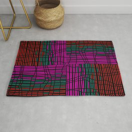 Red, Teal and Pink Vein Line Art on Black Rug