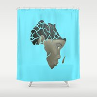 african Shower Curtains featuring African Continent by ArtSchool