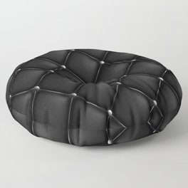 Black Quilted Leather Floor Pillow
