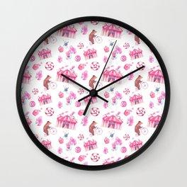 Sweet girly pink watercolor bear funfair pattern Wall Clock