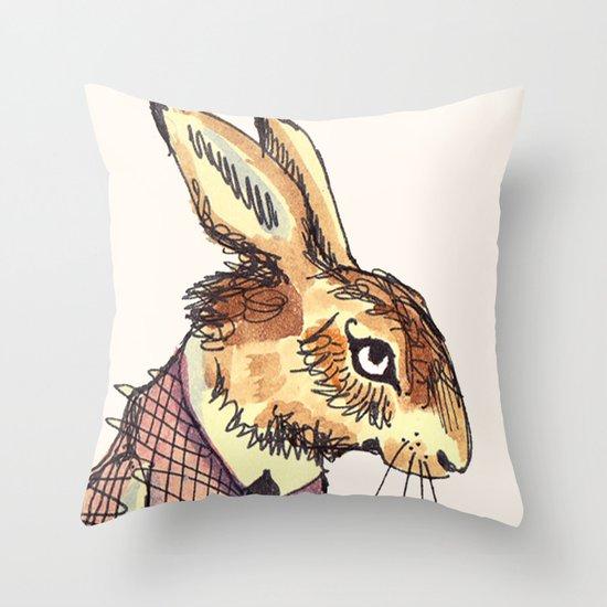 Rabbits Garden Throw Pillow