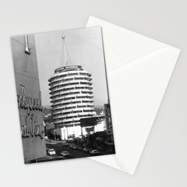 Capital Records Building, Los Angeles, California black and white photograph / black and white photography Stationery Cards