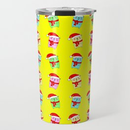 Christmas baby bears with a red Santa Claus hat and a warm woolen scarf seamless yellow pattern. Travel Mug