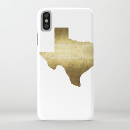 texas gold foil print state map iPhone Case