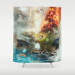 The 4 elements of the Zodiac Shower Curtain