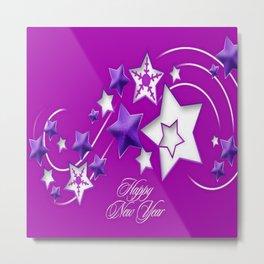 Fucshia and Purple Happy New Year Shooting Stars Metal Print