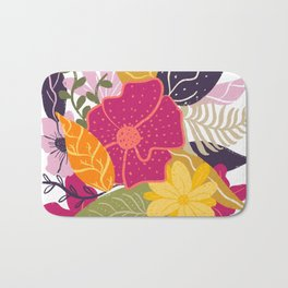 Modern big floral composition illustration pink yellow purple greens flowers Bath Mat