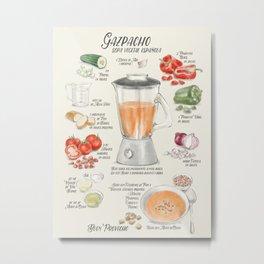 Gazpacho illustrated recipe in Spanish Metal Print