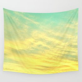 Green Yellow Sunset Wall Tapestry