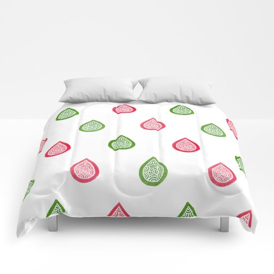 Pink and green raindrops Comforters