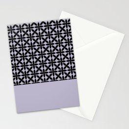 Black Square Petals Graphic Design Pattern on PPG Wild Lilac Stationery Cards