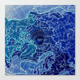 North Pole Neon Map Canvas Print