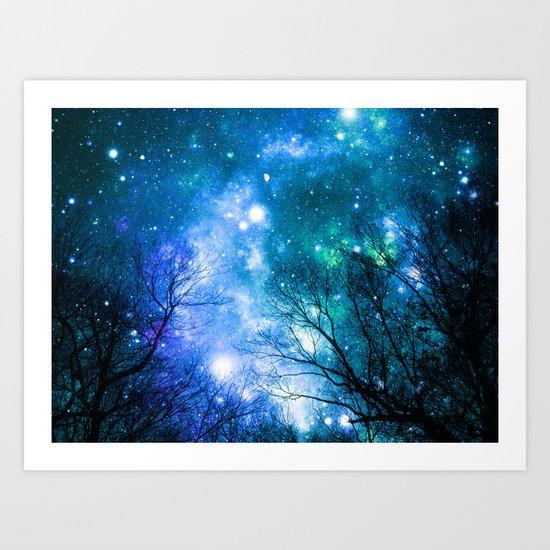Black Trees Blue Turquoise Teal Space Art Print