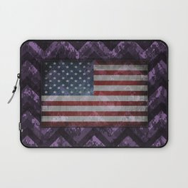 Amethyst Purple Digital Camo Chevrons with American Flag Laptop Sleeve