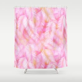 Pink Flamingo Feather Pattern Shower Curtain