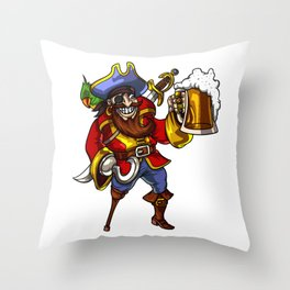 Pirate Sailor Drinking Beer Party Throw Pillow