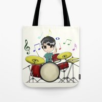 chibi Tote Bags featuring Chibi Drummer by Jelo