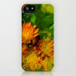 Orange Hawkweed Blossoms Abstract Impressionism iPhone Case