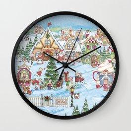 Santa's Christmas Winter Village Wall Clock