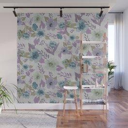 Lavender Grey Flowers Wall Mural