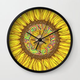 Sunflower Compass Wall Clock