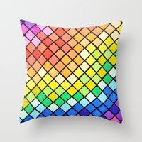 pantone Throw Pillows featuring Geo-Pantone by Aries Art