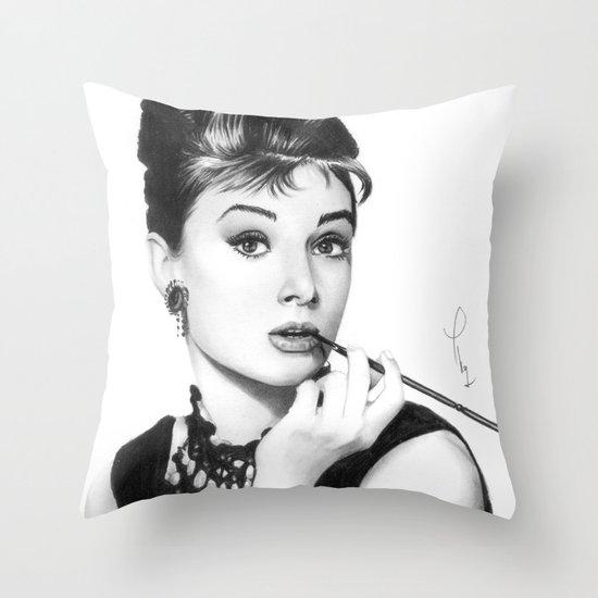 Audrey Hepburn Pencil drawing Throw Pillow