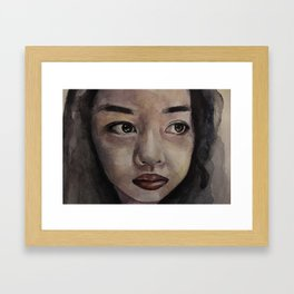 Art, watercolor portrait asian girl Framed Art Print