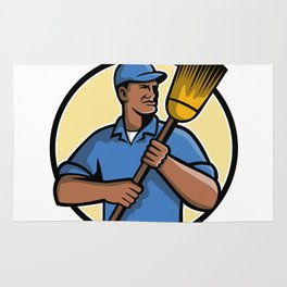 African American Street Sweeper or Cleaner Mascot Rug