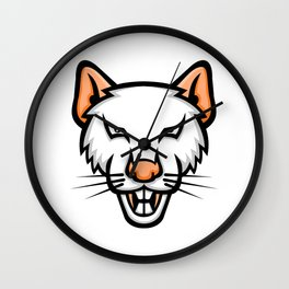 Albino Laboratory Mouse Mascot Wall Clock