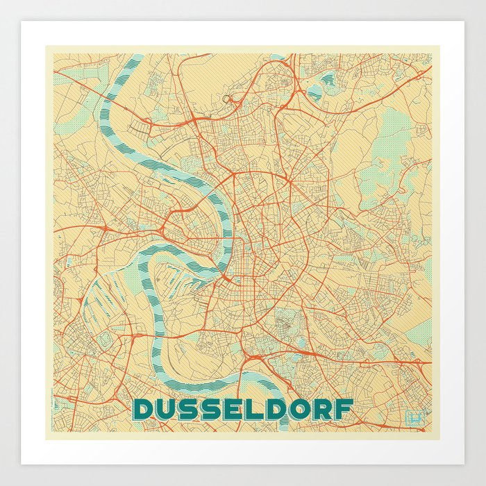 Dusseldorf Map Retro Art Print by hubertroguski on