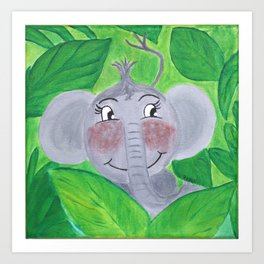 Elephant in the jungle Art Print