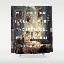 freedom, books, flowers and the moon Shower Curtain