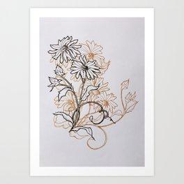 Ochre Daisy Art Print