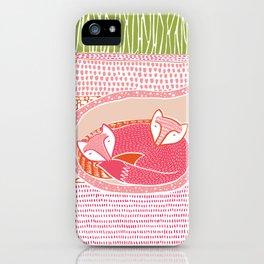 Sleepy Happy Foxes iPhone Case