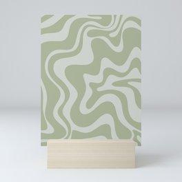 Liquid Swirl Abstract Pattern in Sage Green and Light Sage Gray Mini Art Print