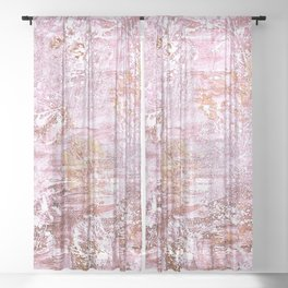 Abstract Autumn In Gold-Rosé Sheer Curtain